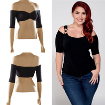 Bandeau 1/2 Sleeve Black Jersey Sleevey Wonders - Plus Size