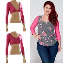 Basic 3/4 Sleeve Pink Jersey Sleevey Wonders - Plus Size