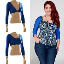 Basic 3/4 Sleeve Blue Jersey Sleevey Wonders - Plus Size