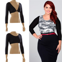 Basic 3/4 Sleeve Black Jersey Sleevey Wonders - Plus Size