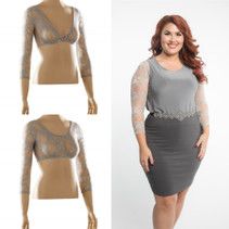 Basic 3/4 Length Silver Lace Sleevey Wonders - Plus Size