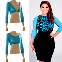 Basic 3/4 Length Turquoise Mesh Sleevey Wonders - Plus Size