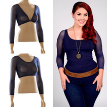 Basic 3/4 Length Navy Mesh Sleevey Wonders - Plus Size