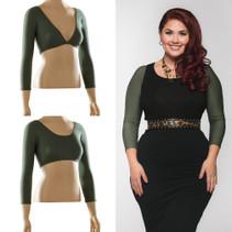 Basic 3/4 Sleeve Green Jersey Sleevey Wonders - Plus Size