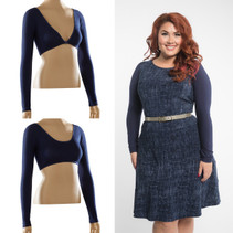 Navy blue jersey in a fitted long sleeve will add beautiful arm coverage to so many of your sleeveless tops and dresses!