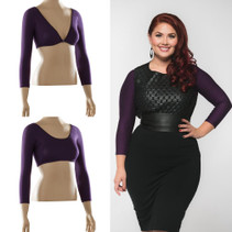 Gorgeous eggplant purple looks better in person! Goes beautifully with black, gray, navy and so many prints.