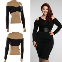 Sleevey Wonders Bandeau in long sleeve jersey will transform any sleeveless/strapless/halter top into something fabulous and NEW! These sleeves are made to wear under your outfit, and give a trendy cold shoulder look to any top, providing flattering arm coverage!