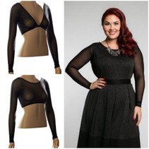 Basic long sleeve black mesh adds subtle elegance to all your sleeveless/strapless clothes! These reversible under sleeves can be worn with either the low side or the high side in front or back, and are so versatile they can add the perfect arm coverage for casual, professional and dress-up looks!