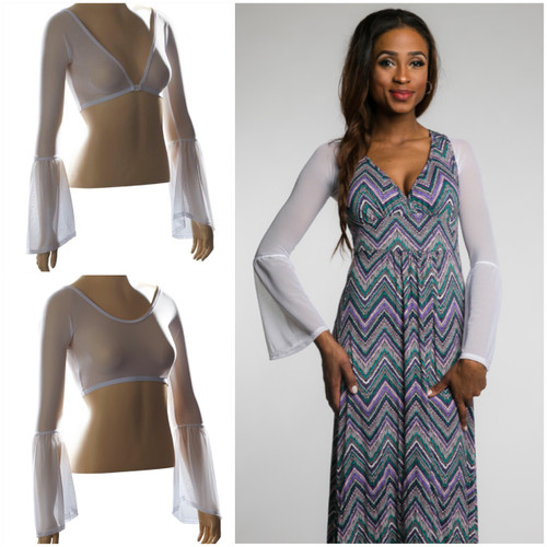 Sleevey Wonders new Bestselling Bell style of reversible under sleeves will transform all your sleeveless tops and dresses into something Boho chic! Beautiful arm coverage for all the fun bohemian print tops and dresses out right now! Looks equally great under a tank top