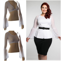 Long Bell Sleeve White Mesh Sleevey Wonders - Plus Size