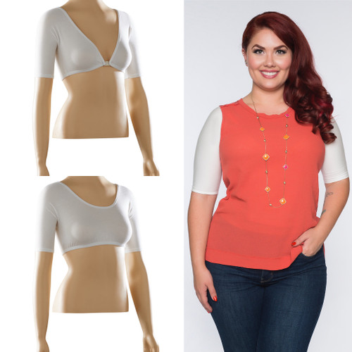 Reversible half sleeve in off-white jersey is the perfect light-weight arm coverage to wear under anything sleeveless! One side is a low v-neck with an easy clasp, and the other side is a higher scoop neck. It is made to be worn with either side in front or back!