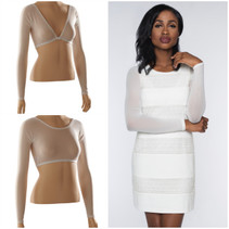 Material: 90% Nylon, 10% Spandex Sleevey Wonders are reversible!  The v-neck and scoop neck Sleevey Wonders shown on the mannequin are the same pair worn in different ways!