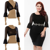 Bell 3/4 Sleeve Black Mesh Sleevey Wonders - Plus Size