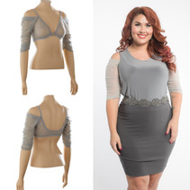 Waterfall 1/2 Sleeve Silver Mesh Sleevey Wonders - Plus Size