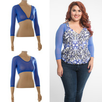Basic 3/4 Length Blue Mesh Sleevey Wonders - Plus Size