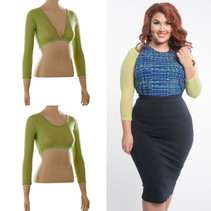 Basic 3/4 Length Apple Green Mesh Sleevey Wonders - Plus Size