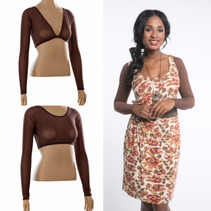 Basic Brown Mesh Long Sleeve Sleevey Wonders