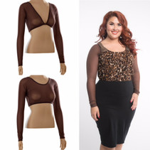 Basic Brown Mesh Long Sleeve Sleevey Wonders - Plus Size
