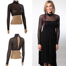High Neck Black Mesh Long Sleeve Sleevey Wonders