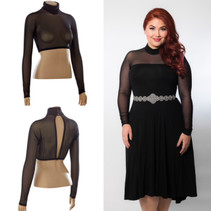 High Neck Black Mesh Long Sleeve Sleevey Wonders - Plus Size