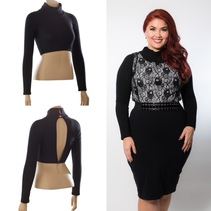 High Neck Black Jersey Long Sleeve Sleevey Wonders - Plus Size