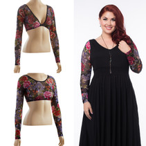 Basic Long Sleeve Tattoo Print Mesh Sleevey Wonders - Plus Size