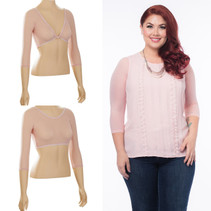 Basic 3/4 Length Blush Mesh Sleevey Wonders - Plus Size