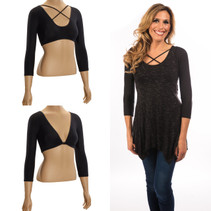 Criss-Cross 3/4 Sleeve Black Jersey Sleevey Wonders