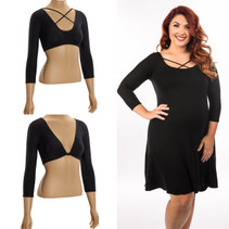 Criss-Cross 3/4 Sleeve Black Jersey Plus Size Sleevey Wonders