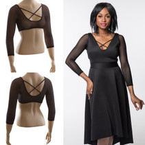 Criss-Cross 3/4 Sleeve Black Mesh Sleevey Wonders