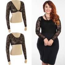 Basic Long Sleeve Black Lace Sleevey Wonders - Plus Size
