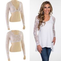 Basic Long Sleeve White Lace Sleevey Wonders
