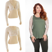 Basic Long Sleeve Ivory Lace Sleevey Wonders - Plus Size