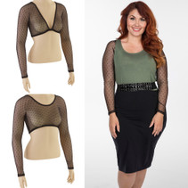 Basic Black Dotted Mesh Long Sleeve Sleevey Wonders -- Plus Size