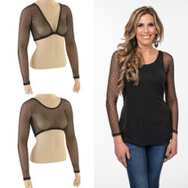 Basic Black Dotted Mesh Long Sleeve Sleevey Wonders