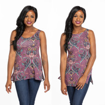 NEW Tunic Tank Top Lavender Paisley Jersey
