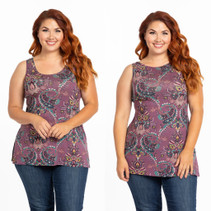 NEW Tunic Tank Top Lavender Paisley Jersey - Plus Size