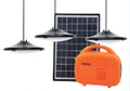 Dasol Backup Power Kit with 10 watt solar panel, 12 Volt, 2.3 Amp-hour Lithium-Iron Phosphate Battery, 3 long-life 1 watt LED lamps in hanging fixtures, and USB cell phone charge port.