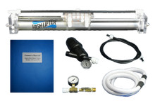 The High Lifter Water Pump 4.5:1 Complete comes with pump, input hose, filter, output gauge, and owner's manual.