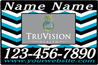 A Set of Black and Blue Chevron Car Magnets