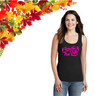 Ladies Black Tank Top with Pink GLITTER Logo