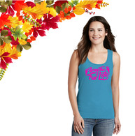 Ladies Saphire Tank Top with Pink GLITTER Logo