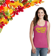 Ladies Pink Tank Top with Yellow GLITTER Logo