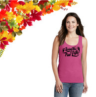 Ladies Pink Tank Top with Black Screen print Logo