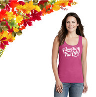 Ladies Pink Tank Top with White Screen print Logo