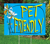 "PET FRIENDLY - 18"" x 24"" Sign - Watercolor Floral Theme"