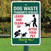 "Dog Waste Transmits Disease Aluminum Sign - 12"" x 18"""