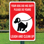 "Leash and Clean Up Aluminum Sign - 12"" x 18"""