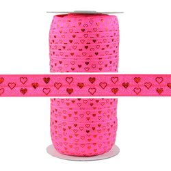 Red Hearts Neon Pink Fold Over Elastic 100yd