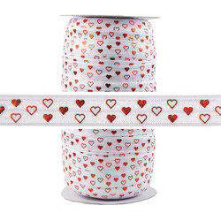 Red Hearts White Fold Over Elastic 100yd